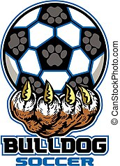 bulldog soccer team design with large paw holding ball for...