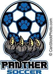 panther soccer team design with large claw holding ball for...