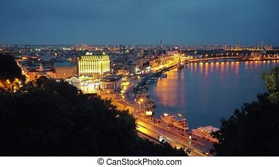 Night Kiev. Central part of Kyiv City and Dnieper River -...