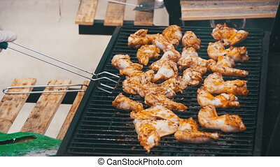 Grilled Chicken on the Grill in Slow Motion - Grilled...