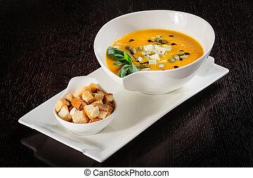 Pumpkin and soup with cream and pumpkin seeds - Pumpkin soup...