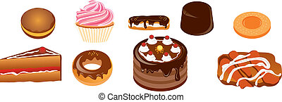 cakes - vector illustration shows the different types of...