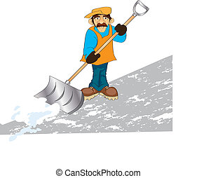 janitor - vector illustration shows a man raking snow
