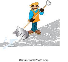 janitor - vector illustration shows a man raking snow
