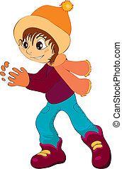 child - vector illustration shows a child wearing a cap...