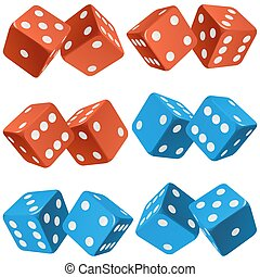 Vector pair of dice icon set