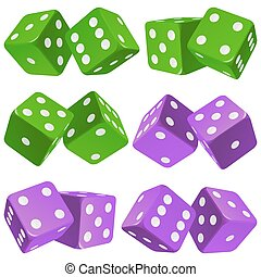 Vector pair of dice icon set - Vector Casino Dice Set of...