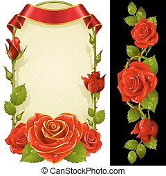 Vector set of Red Roses Decoration