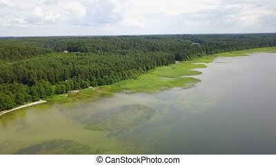 Plateliai lake Lithuania National Water Reserve Aerial drone...