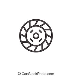 Car clutch line icon isolated on white. Vector illustration