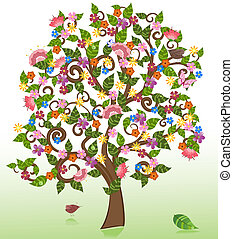 summer abstract floral tree