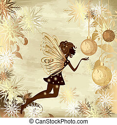Christmas grunge background with a fairy