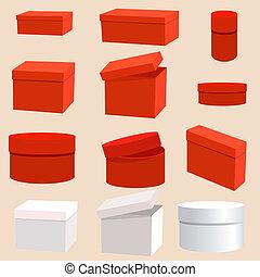 set of empty boxes
