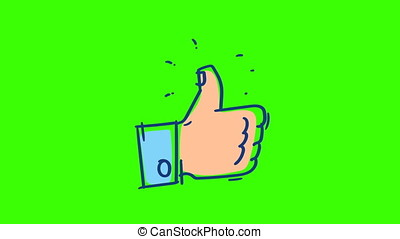 Drawn Hand Showing Thumbs Up. Green Background. Single Frame...