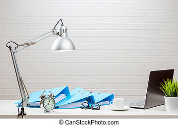 Accountant working table in a bright interior, no people