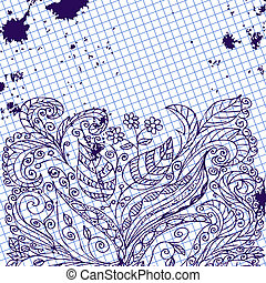 Ink abstract floral pattern