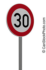 thirty - roadsign speed limit thirty on white background -...