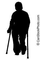 Handicap person with crutches on isolated white background...