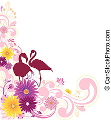 floral background with ornament - floral background with...