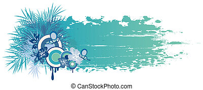 blue summer banner with tropical plants