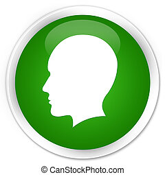 Head men face icon premium green round button