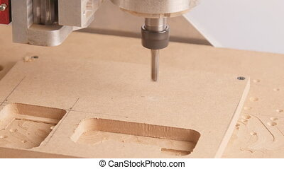 Cutting wood with a milling machines industry concept
