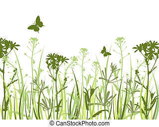 Green background with flowers and butterflies - Background...
