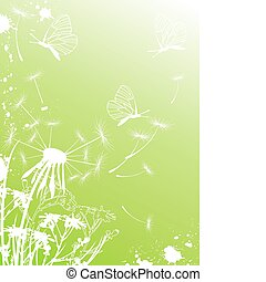 Background with dandelion and butterflies