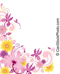 floral background with ornament - Colored floral background...