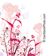 Grunge background with flowers and butterflies