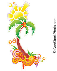 colored background with palm - colored summer tropical...