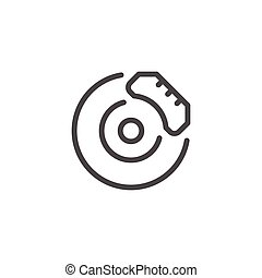 Disk brake line icon isolated on white. Vector illustration