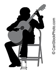 Young woman playing acoustic guitar - Illustration of a...