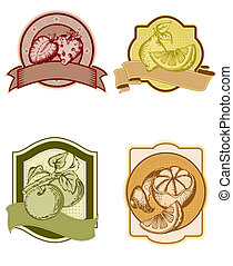 set of vintage labels with fruits and berries