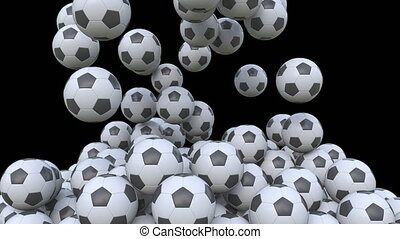 Falling football balls, alpha matte for easy background...