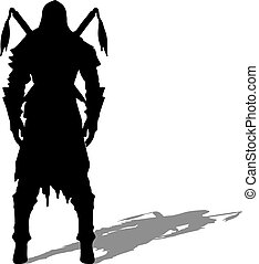 Medieval warrior knight vector silhouette