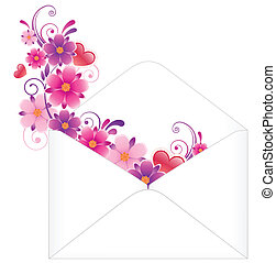 envelope with flowers - white paper envelope with colored...