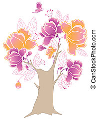flowering tree and butterfly