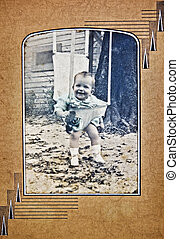 Old Photo of a Baby Outside - A cute baby outdoors in her...