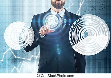 Innovation and analytics concept - Abstract image of blurry...
