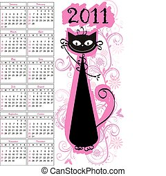 Calendar  - Vector calendar for 2011 with cat