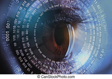 Biometrics concept - Close up of eye with abstract digital...