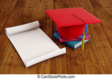 Graduation ceremony concept - Mortarboard and empty paper...