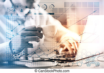 Accounting concept - Side view of businessman hands typing...