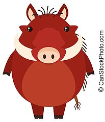 Warthog with happy face illustration