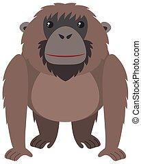 Brown orangutan with happy face illustration