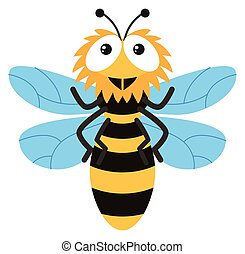 Cute bee flying on white background