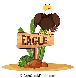 Eagle on wooden sign