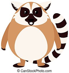 Brown lemur with happy face illustration