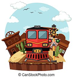 Train ride to the western town illustration
